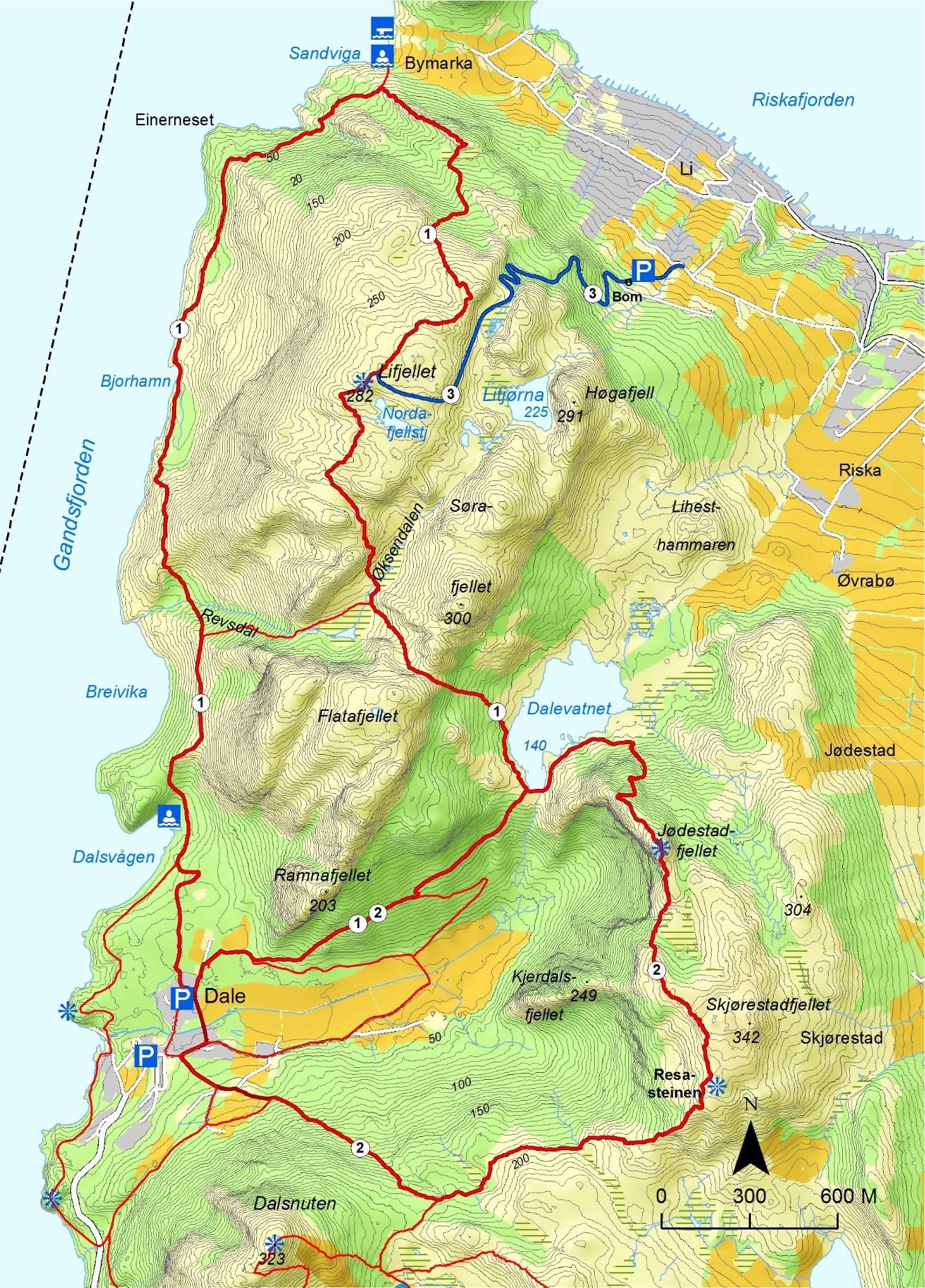 kart lifjell Sandnes kommune   Turmuligheter kart lifjell